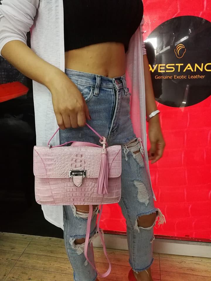 Crocodile Leather Handbag Pink #CRW1217H-02-PI2