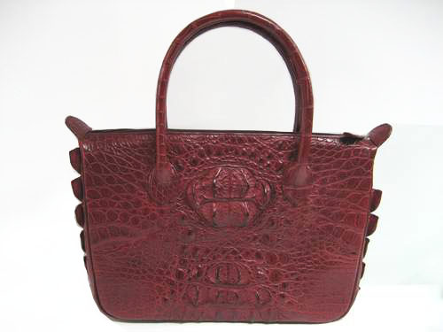 Genuine Crocodile HandBag in Burgundy Crocodile Leather #CRW233H-03