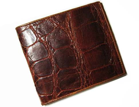 Genuine Belly Crocodile Leather Wallet in Red-Brown Crocodile Leather #CRM444W-02