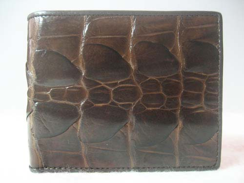 Genuine Tail Crocodile Leather Wallet in Chocolate Brown Crocodile Leather #CRM448W-10