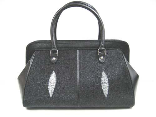 Genuine Stingray Leather Handbag in Black Stingray Skin  #STW366H