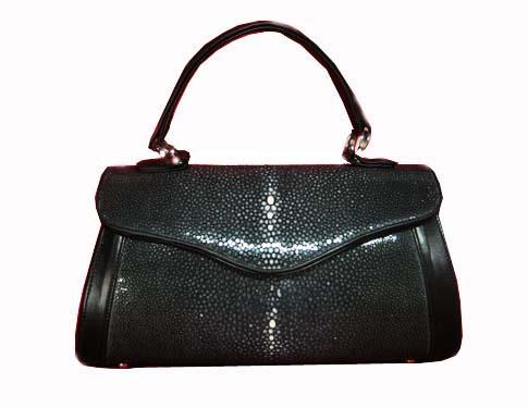 Genuine Sanded Stingray Leather Handbag in Black Stingray Skin  #STW378H