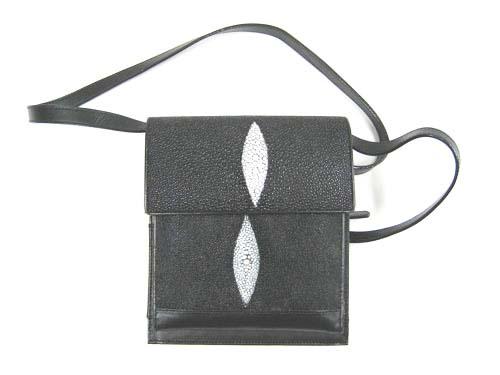 Genuine Stingray Leather Shoulder Bag in Black Stingray Skin  #STW389S