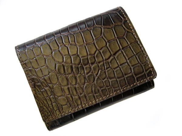 Genuine Belly Crocodile Leather Credit Card Wallet in Chocolate Brown Crocodile Skin  #CRM454W-01