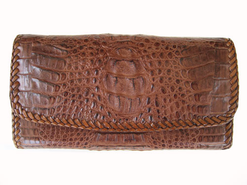Ladies Crocodile/ Alligator Leather Clutch Wallet with Weave Style in Dark Brown Crocodile Skin  #CRW466W-10