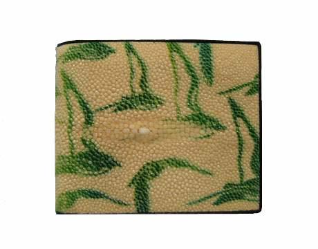 Genuine Stingray Leather Wallet in Green Bird Stripes Stingray Skin  #STW479W