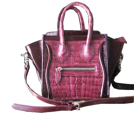Genuine Belly Caiman Crocodile Handbag in Purple Crocodile Leather #CRW305H-PU