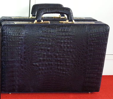Genuine Belly Caiman Crocodile Leather Briefcase in Dark Blue Colour  #CRM430BR-BLU