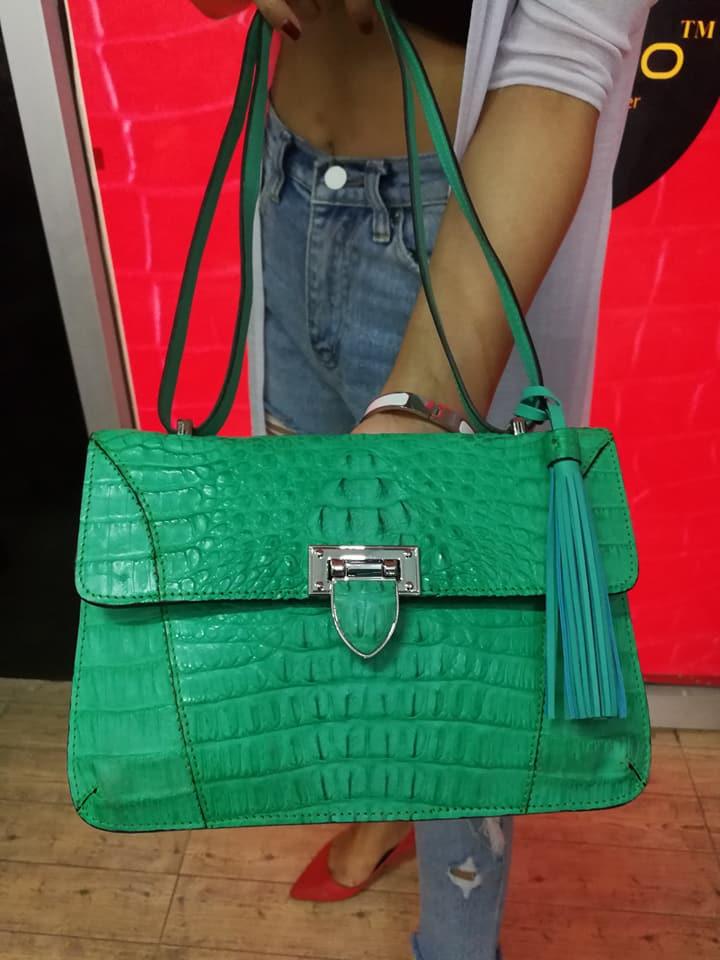 Crocodile Leather Handbag Pink #CRW1217H-02-GR1