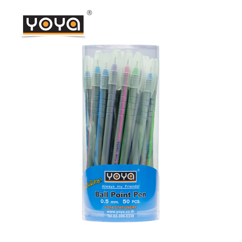 YOYA ปากกาลูกลื่น 0.5 มม หมึกน้ำมันด้ามยาว แพ็ค 50 รุ่น 1209 / หมึกน้ำเงิน