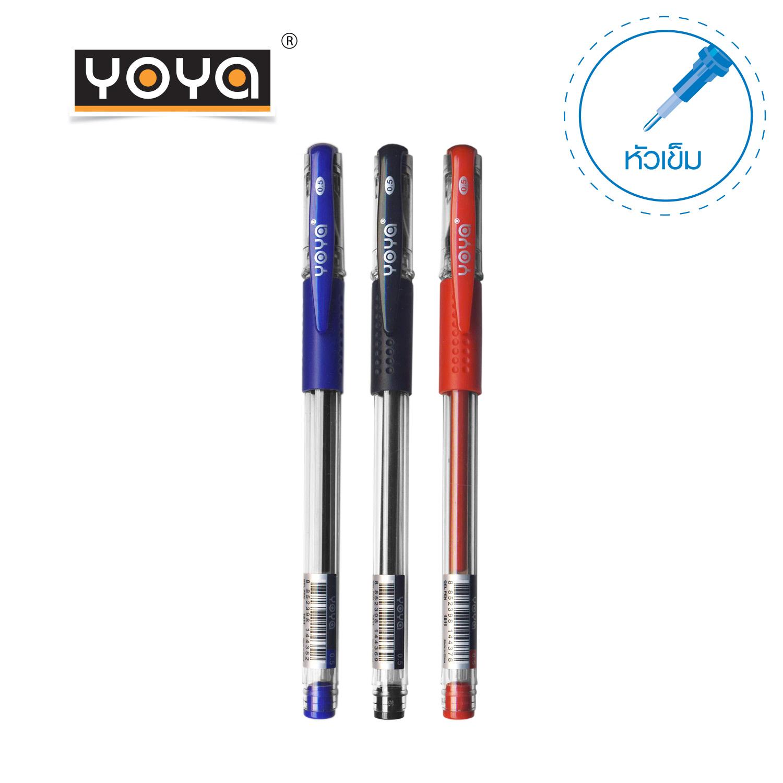YOYA ปากกาเจล-หัวเข็ม 0.5 มม. แพ็ค 12 รุ่น 1811 / หมึกน้ำเงิน-ดำ-แดง