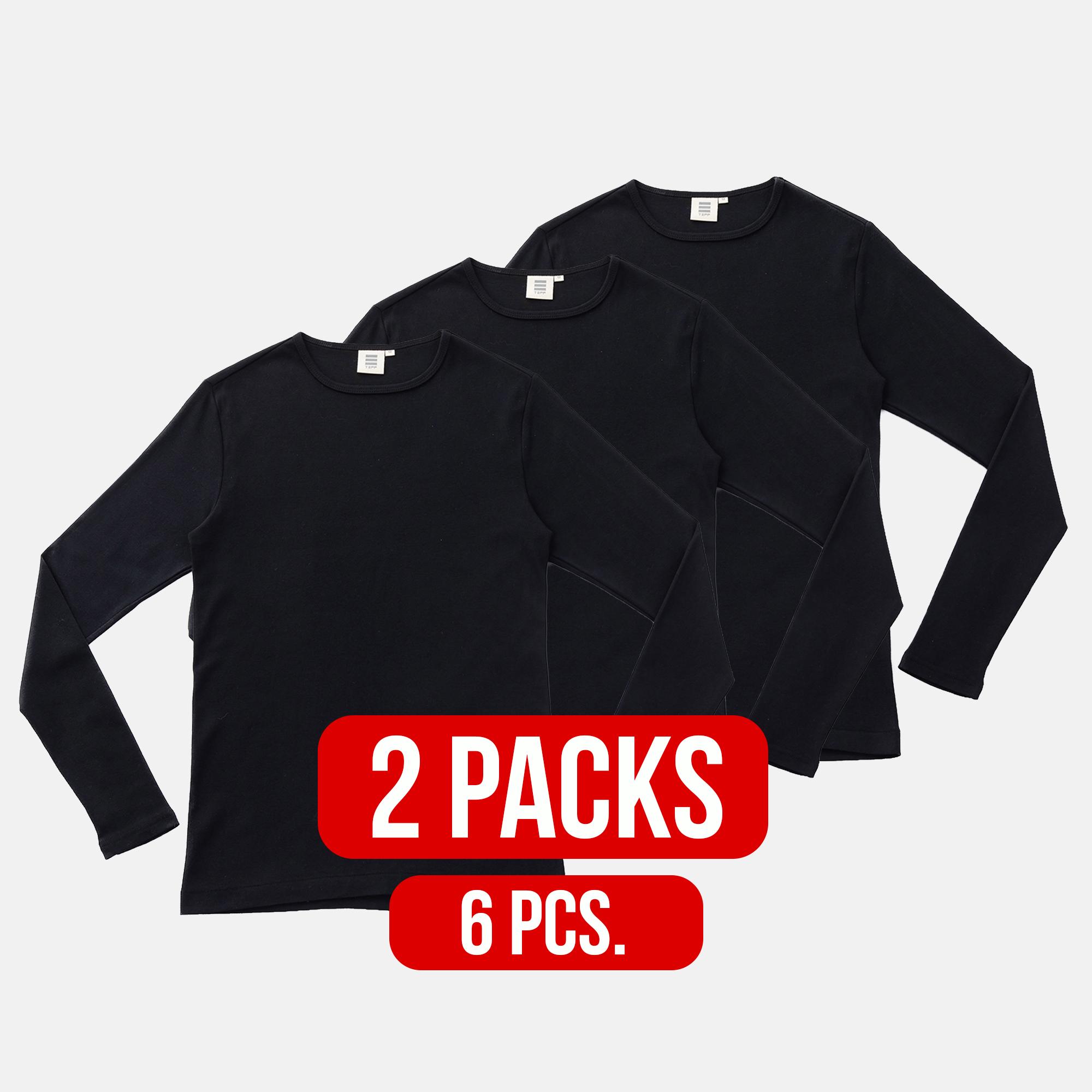 Long Sleeve Round Neck T-shirt BLACK (2Packs)(6PCS.)