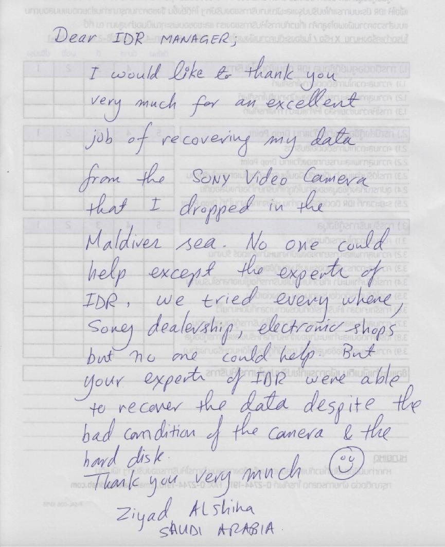 """""""อีกหนึ่งความประทับใจของลูกค้าชาวต่างชาติกับการกู้ข้อมูลที่ IDR LAB"""""""
