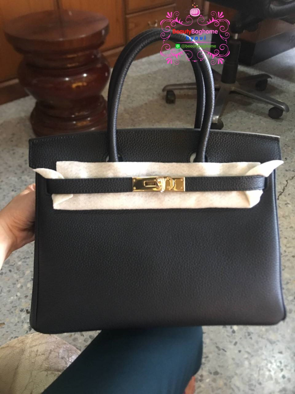 Hermes birkin 30 togo leather  สีดำ  งานHiend 1:1