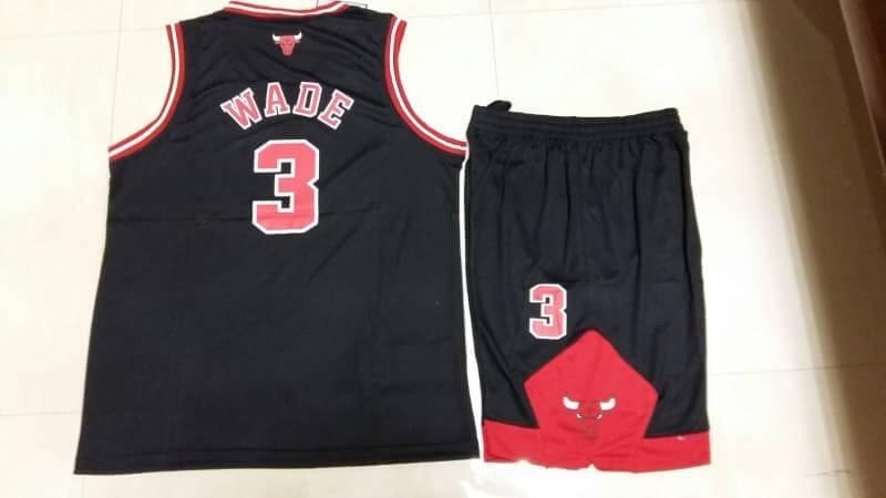 ชุดบาส Wade Chicago เบอร์ 3 สีดำ