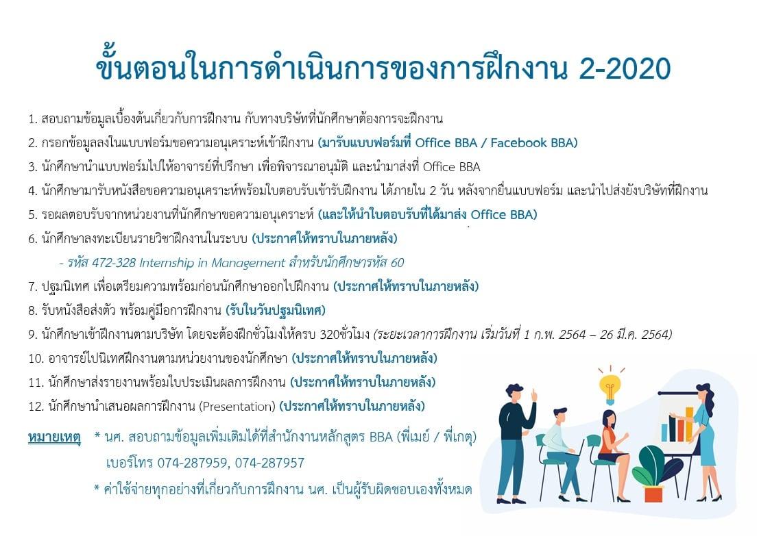 ขั้นตอนการดำเนินการของการฝึกงาน ภาคการศึกษาที่ 2/2020