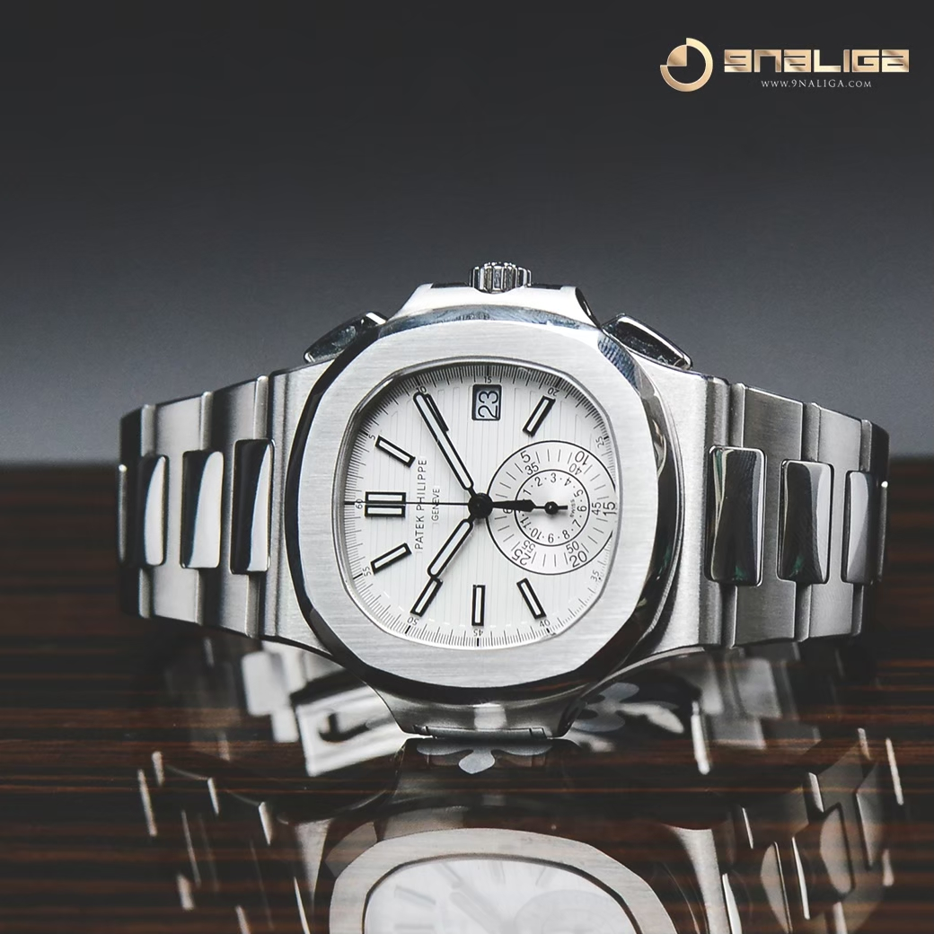 Patek 5980/1A-019 Nautilus One Eye Chronograph Stainless Steel White Dial Box and Paper