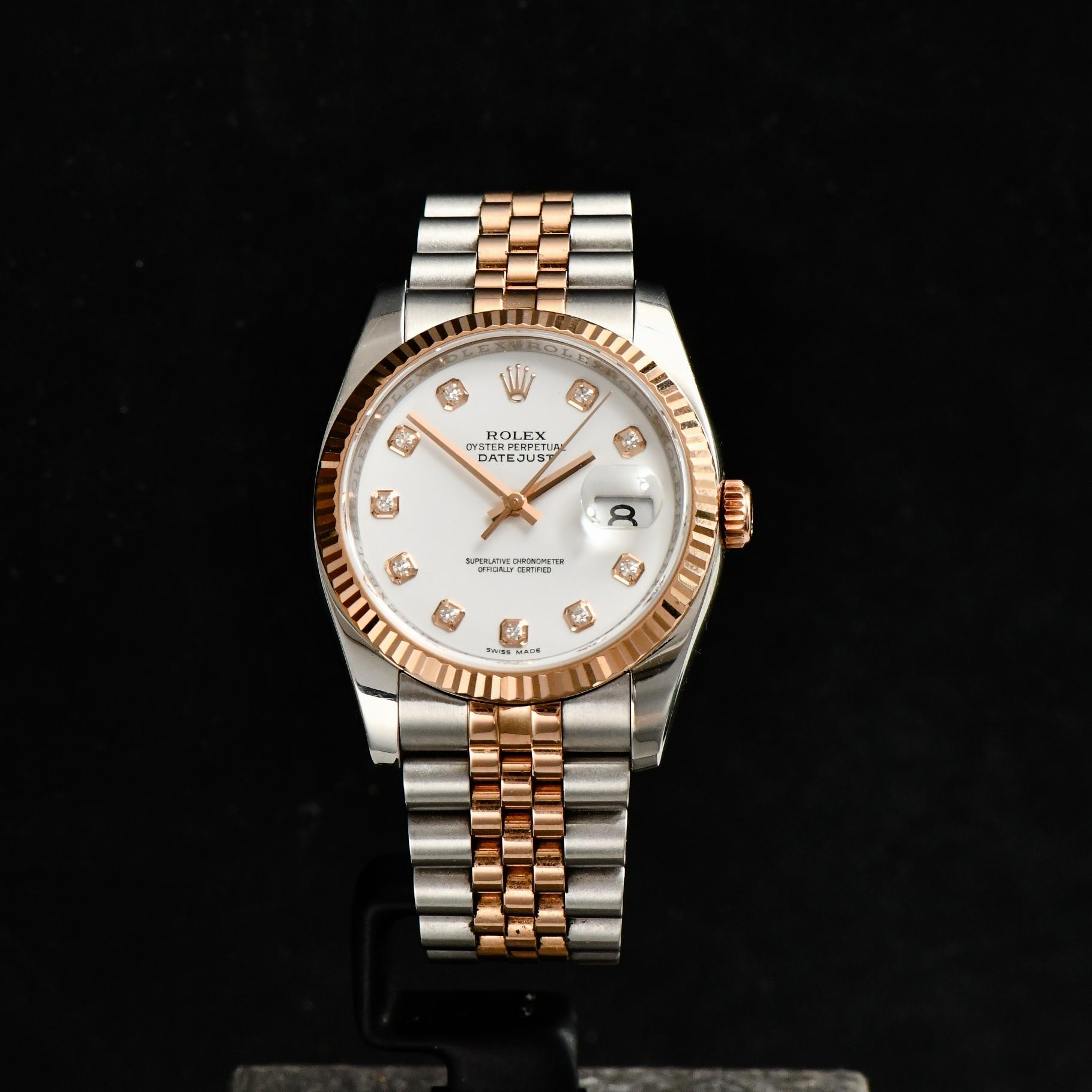 Rolex Dstejust 36m Steel & Pink Gold Jubilee White Diamond Dial