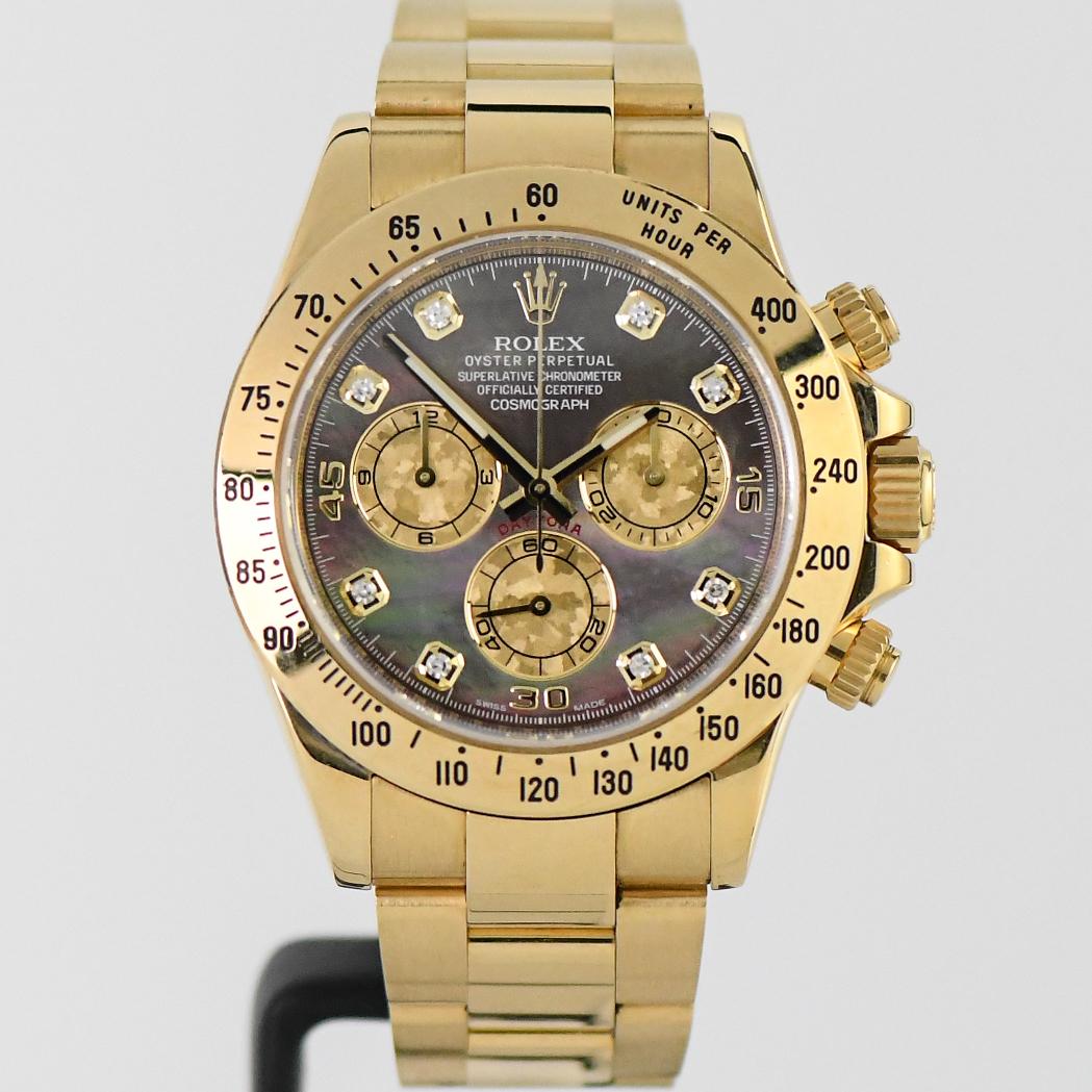Rolex Daytona Black South Sea Pearl & Diamond Yellow Gold