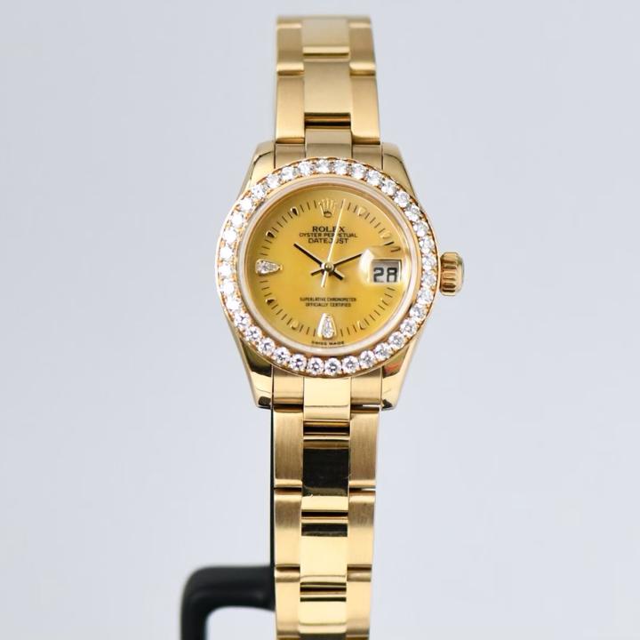 Rolex President Lady 26m Full Yellow Gold - Gold Pearl Diamond - Diamond Setting Bezel - Oyster Bracelet