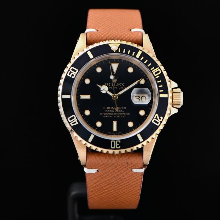 Rolex Submariner Yellow Gold Black , Leather Strap size 40m \u0027Besr Regard\u0027