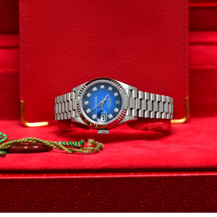 Rolex President White Gold Blue Black Diamond Lady 26m Box and Paper AD Thai Y2000