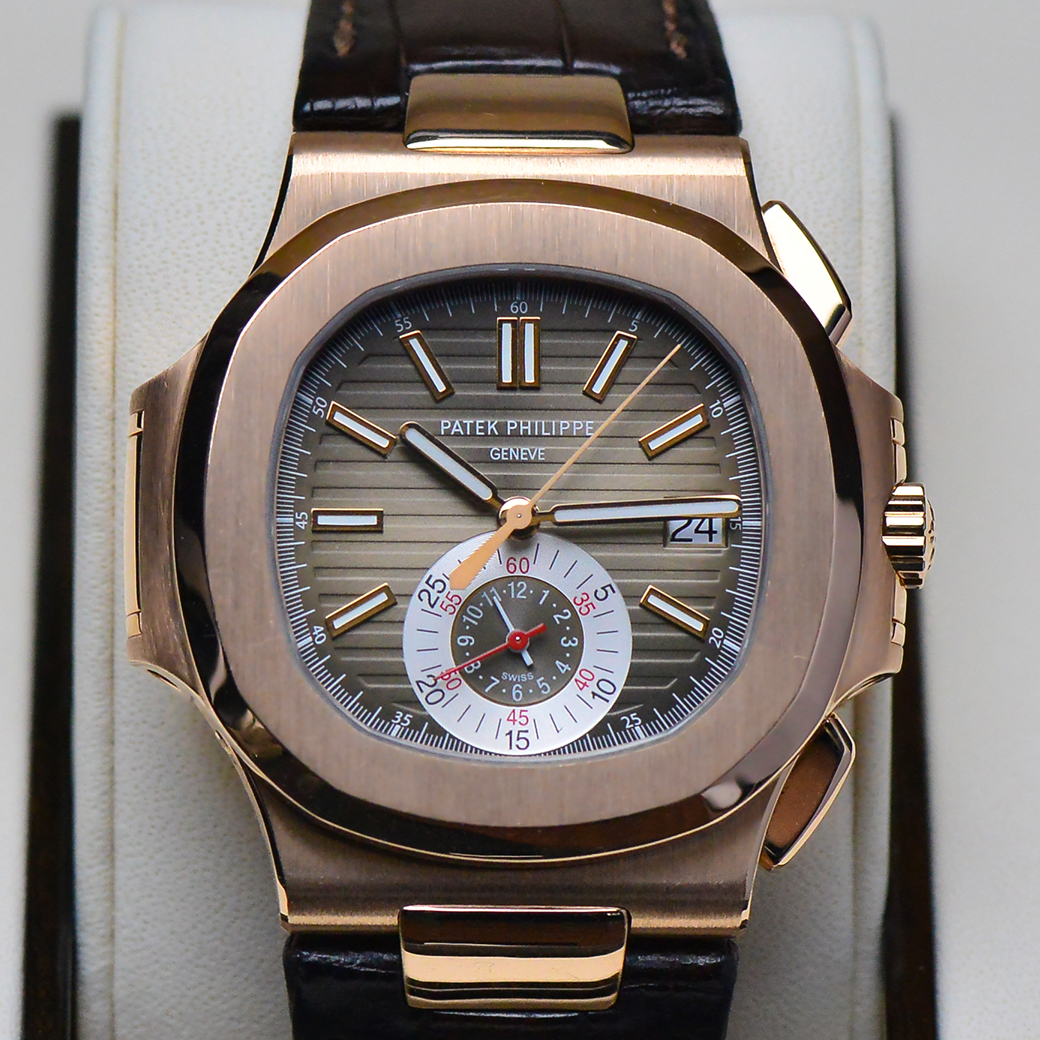 Patek Philippe Nautilus 5980R Rose Gold Chronograph with Leather Straps Y2018 Full Box and Paper