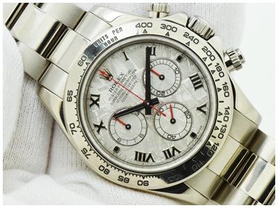 Rolex Daytona White Gold เรือนทองคำขาว หน้าปัดหินอุกาบาต เข็มแดง Meteorite สายทอวงคำขาว White Gold สวยหายาก หล่อมาก