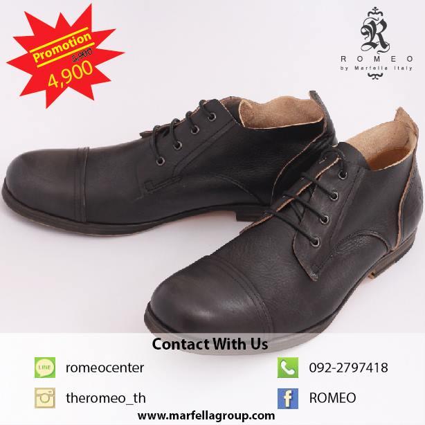 Romeo Leather Shoes BLACK รองเท้าหนังแท้สีดำ Design หรู สบาย ทนทาน ใส่แล้วหล่อ ไซด์ขนาด 40-45
