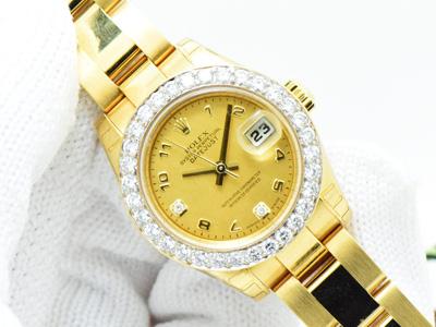 Rolex President Yellow Gold เรือนทองคำ หน้าปัดมุกทองเพชร Yellow Goldust Diamond ขอบเพชรสวย เม็ดใหญ่สวยมาก สายเต้าหู้ตัน ขนาด Lady size 26mm FUll Box & Paper