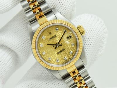 Rolex Datejust Steel & Yellow Gold หน้าปัดคอมทองเพชรใน สายจูบิลี่ โปร่ง ขนาด Lady size 26m