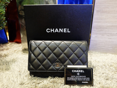 Chanel Black Classic Black Quilted WOC Bag SHW FULL