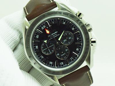 OmegaSpeedmaster Co-Axial Automatic หน้าดำ จับเวลา Steel สายหนัง Size Man (นาฬิกามือสอง, นาฬิกาOmegaมือสอง)