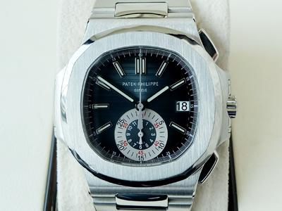 Patek Philippe 5980/1A Nautilus One Eye เรือนเสตนเลส ตาเดียว หลังเปลือย ที่เลิกผลิตแล้ว รอบนี้ตาเดียว มาแล้ว หน้าปัดน้ำเงิน Original (ใบแทน) จับเวลา Chronograph สายเหล็ก ขนาด 40มิล (นาฬิกามือสอง,นาฬิกาpatekมือสอง)