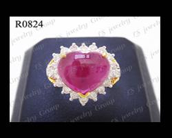 แหวนทับทิมพม่าธรรมชาติหลังเบี้ย (Natural Burmese Ruby Ring) ล้อมเพชร Heart&Arrow - Russian Cut