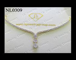 สร้อยคอเพชรกระจุกห้อย (Diamonds Necklace) เพชร Heart&Arrow – Russian Cut