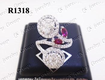 แหวนเพชร ประดับด้วยทับทิมพม่าธรรมชาติเจียระไน เพชร Heart & Arrow - Russian Cut Finest Diamonds