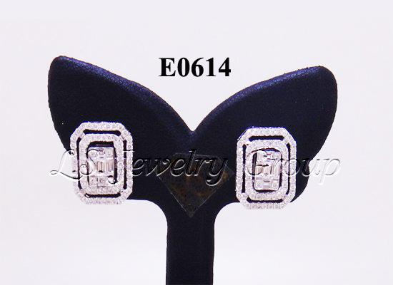 ต่างหูเพชร Emerald 1.55 Ct. น้ำ99%