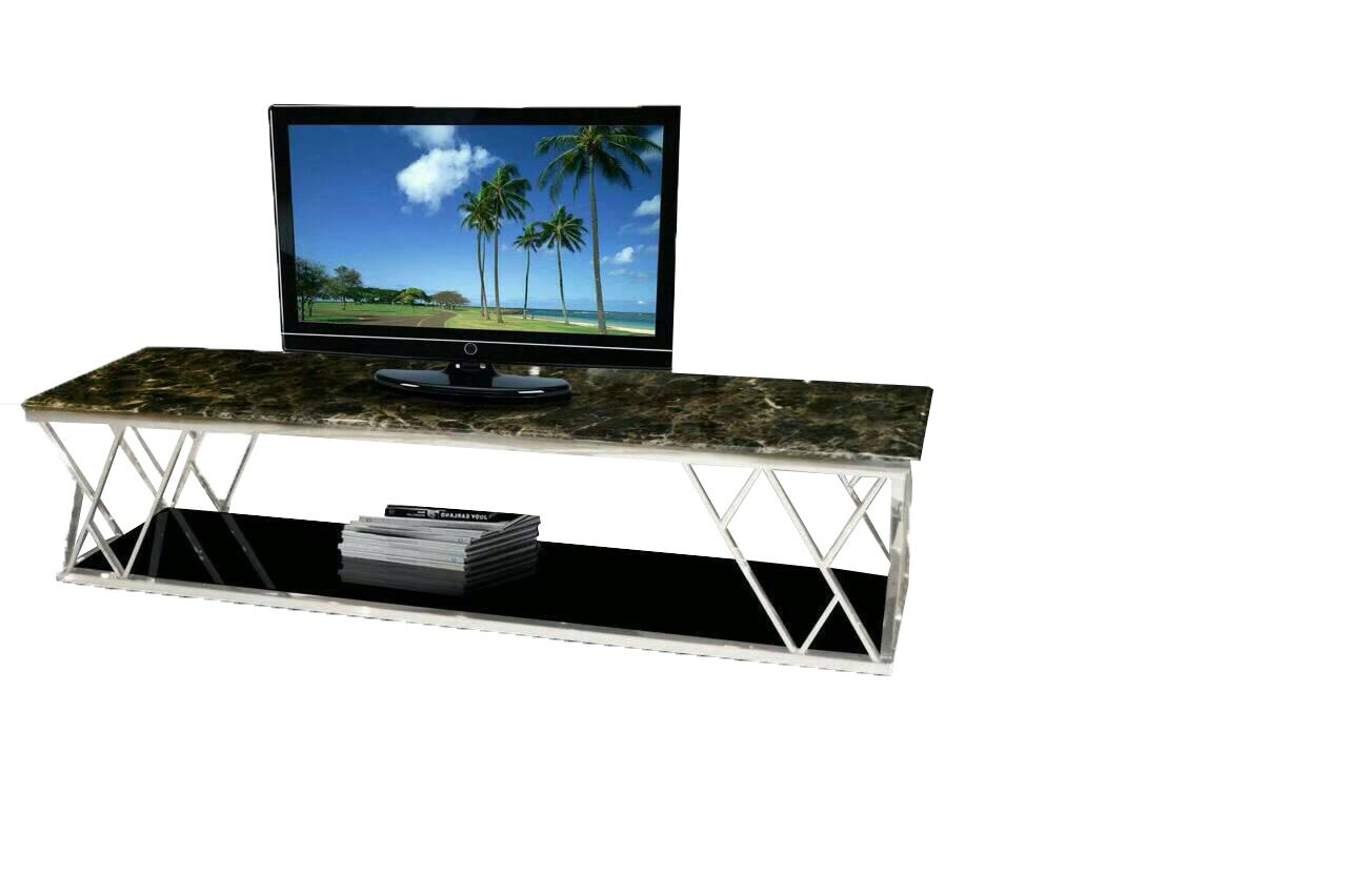 โต๊ะวางทีวีโครงสแตนเลสหน้าหิน