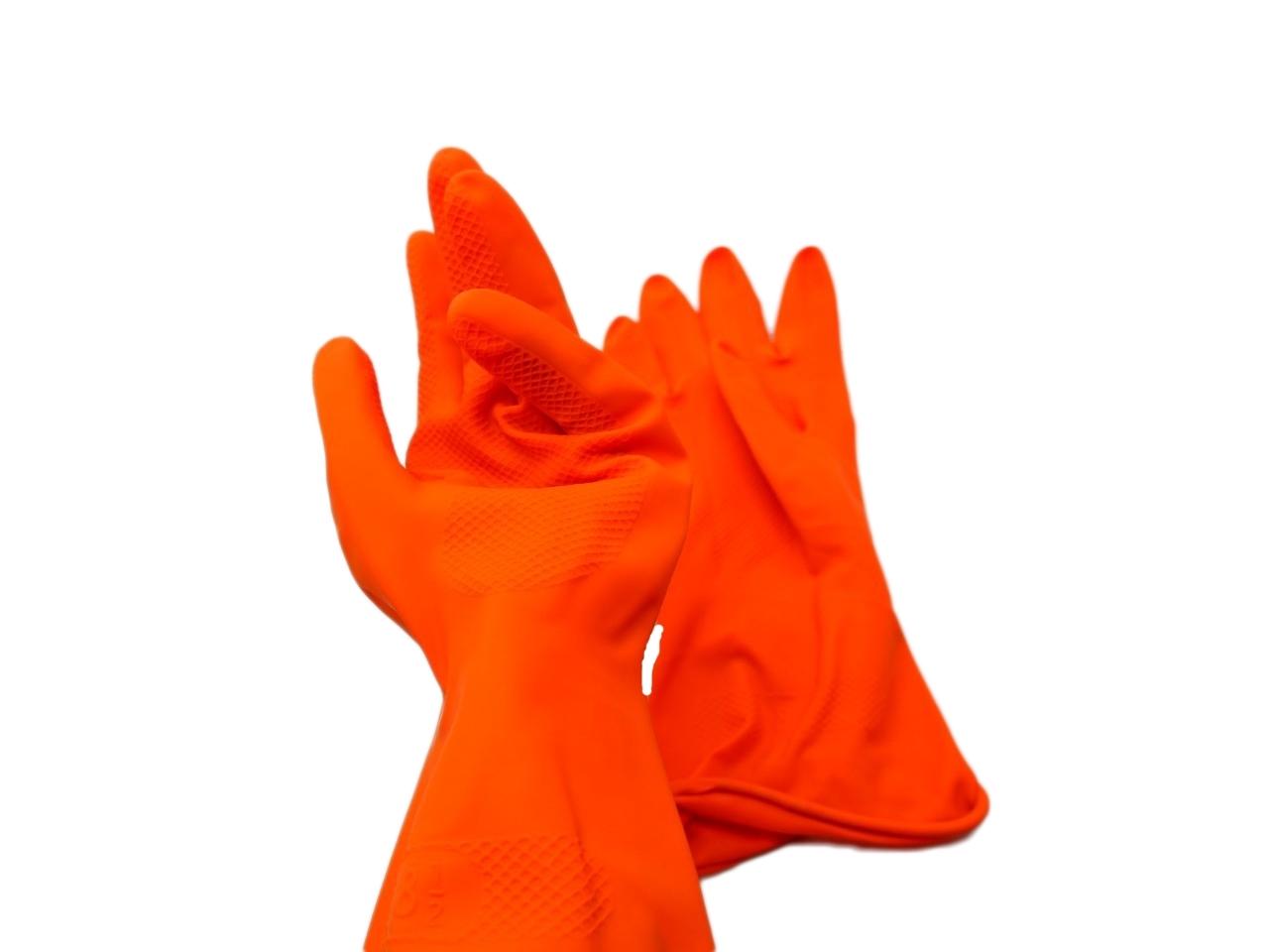 ถุงมือยางสีส้ม  SIZE M ขนาด 8 นิ้ว