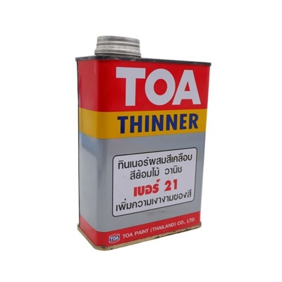 TOA THINNER ทินเนอร์ผสมสีเคลือบ สีย้อมไม้ วานิช เบอร์ 21 ขนาด 0.946 ลิตร เพิ่มความเงางามของสี