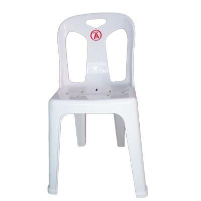 เก้าอี้พลาสติกมีพนักพิง สีขาว No.7002