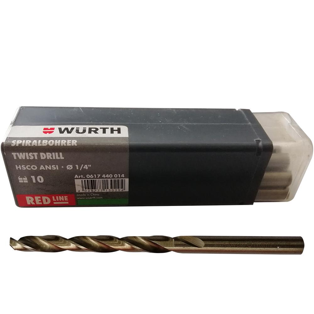"""ดอกสว่าน 1/4"""" (ดอกสแตนเลส) Twist Drill WURTH 1 ดอก"""