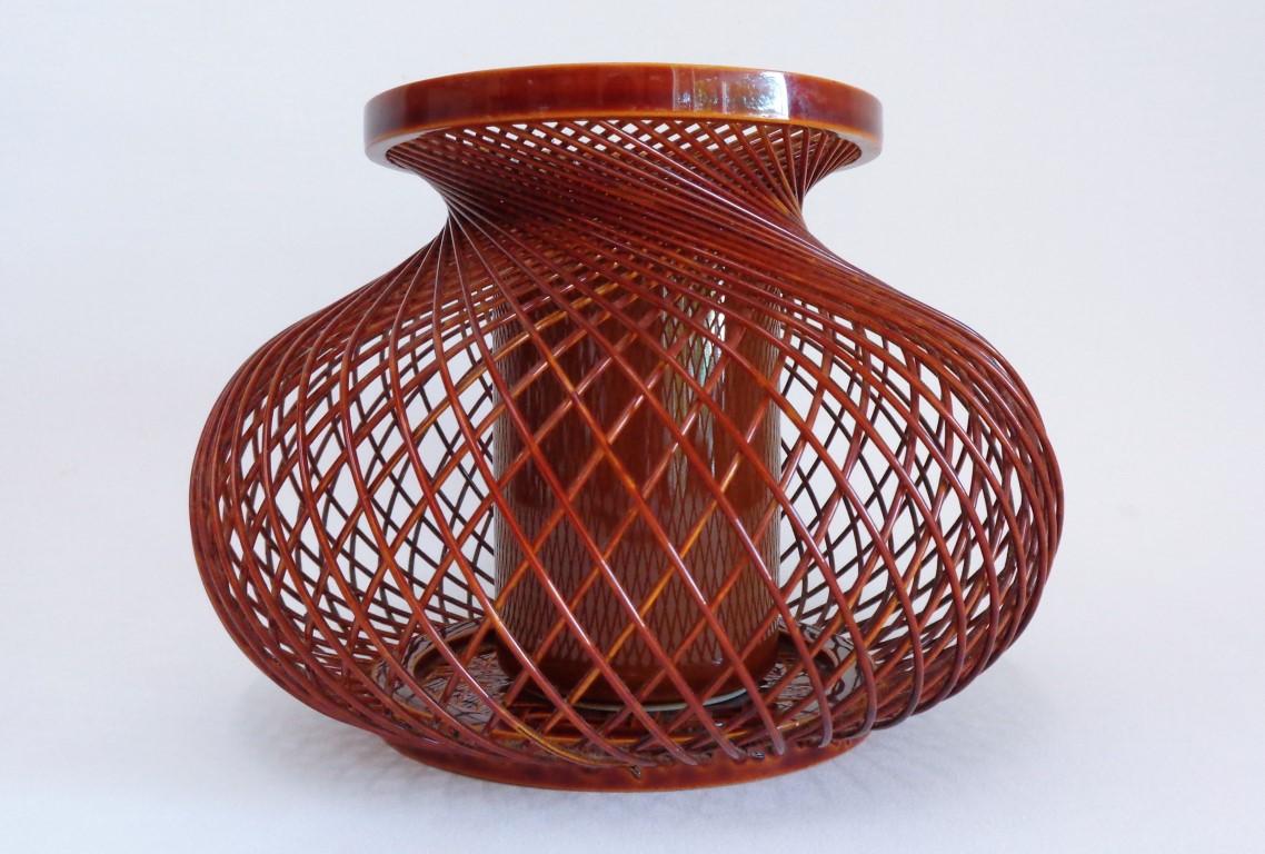 Lacquered Weaving Bamboo Ikebana vase with Ceramic insert