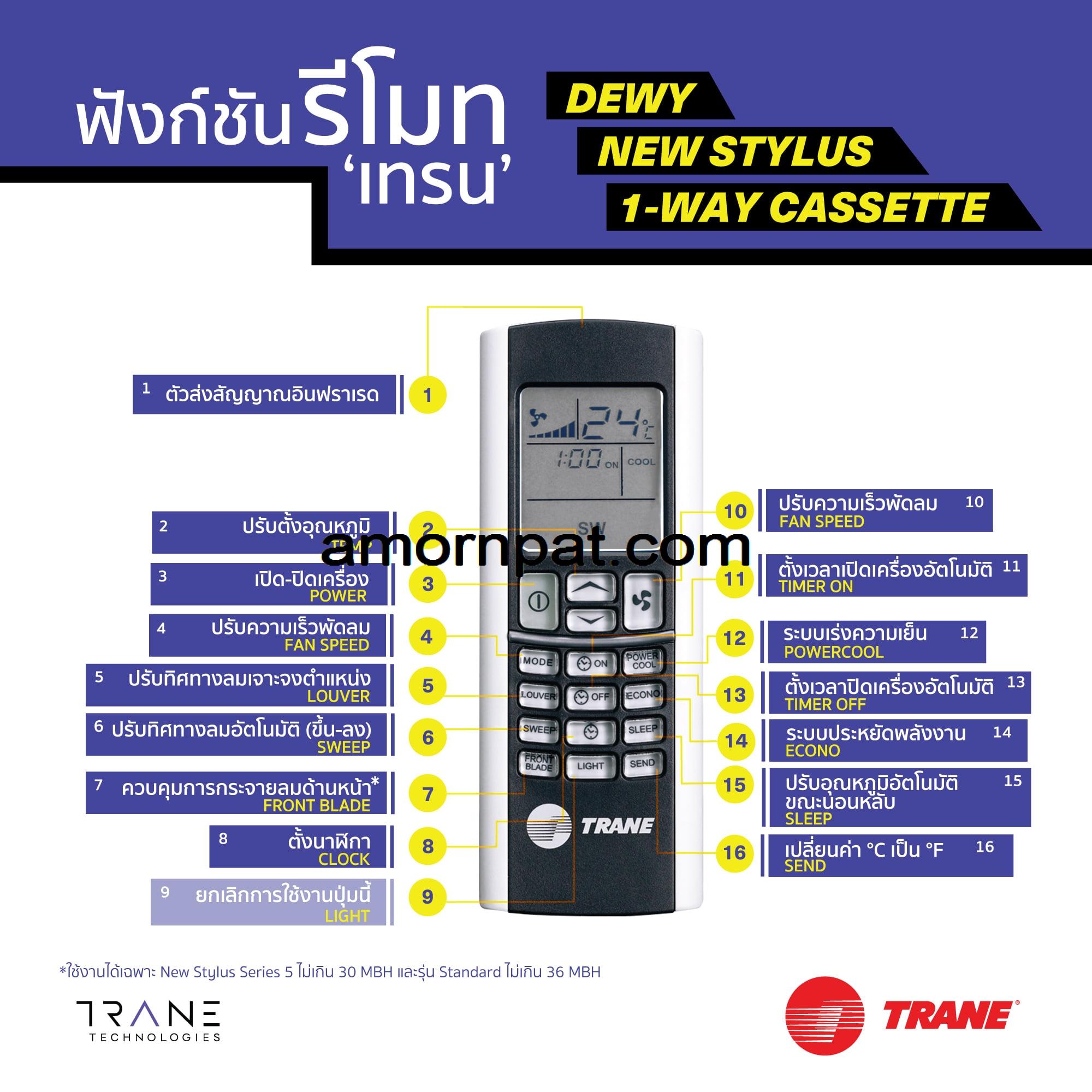 วิธีใช้ รีโมท เครื่องปรับอากาศ trane 'เทรน'รุ่นNew Stylus, Dewyหรือ1-Way Cassette
