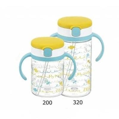 แก้วหลอดดูดกันสำลัก สี Yellow  Richell AQ Clear Straw Bottle MUG
