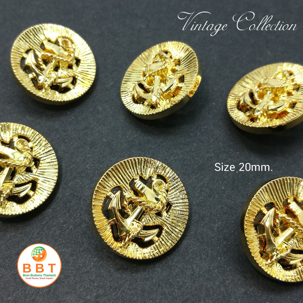 Gold Vintage Buttons 20 mm