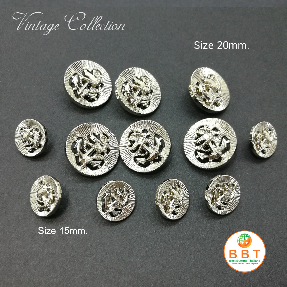 Silver Vintage Buttons 15mm