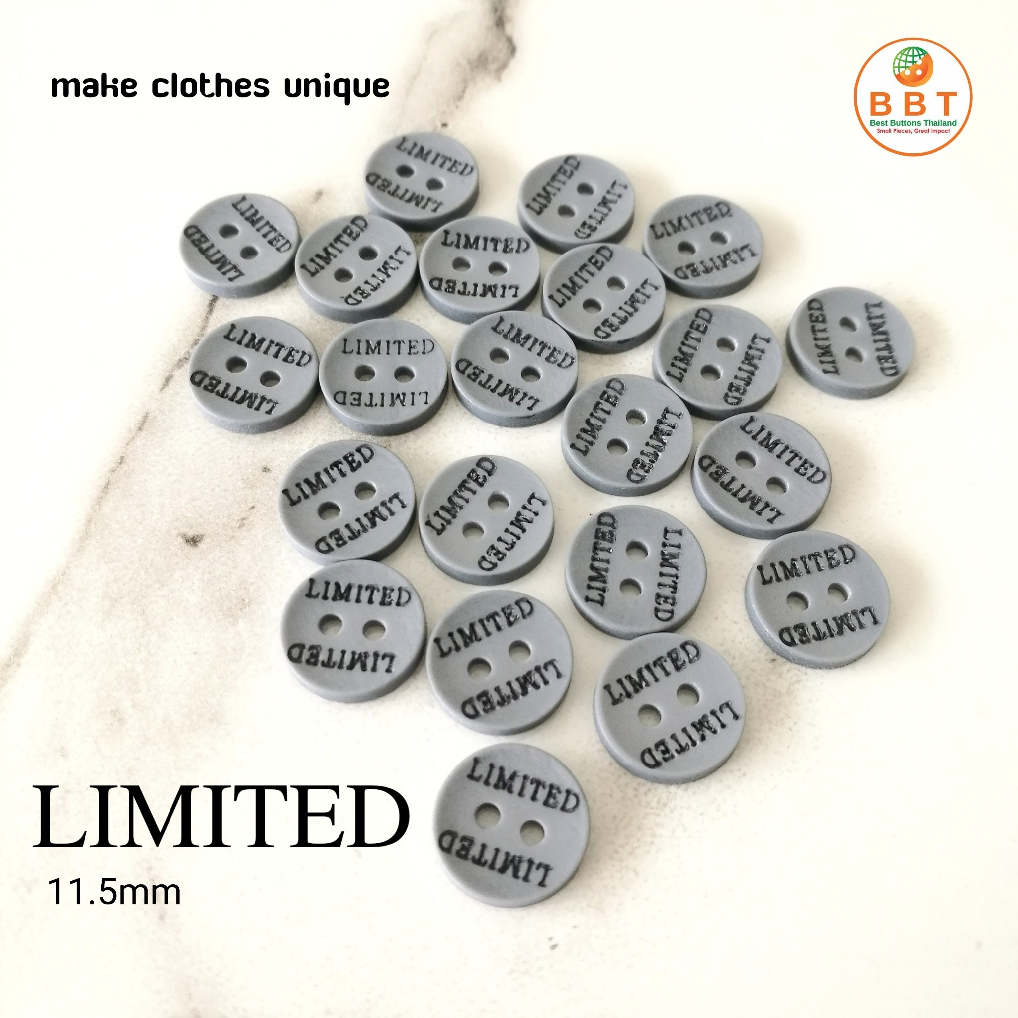 """Engraving Buttons """"LIMITED"""" in Silver"""