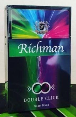 บุหรี่ Richman Double Click บุหรี่ริชแมน (รสเดียวกับม่อนบลูเบอรรี่ Mond) บุหรี่ X2 เม็ดบีบ มวนใหญ่ ผสมผสานกันอย่างลงตัว เย็นจุกปอดควบคู่กับความหอมบลูเบอรี่ที่เด่นชัด ดีไซด์ซองสวยงาม บีบเขียวจะเย็นมิ้นท์ๆ  บีบม่วงจะคูณความเย็นพร้อมกับให้กลิ่นบลูเบอรี่